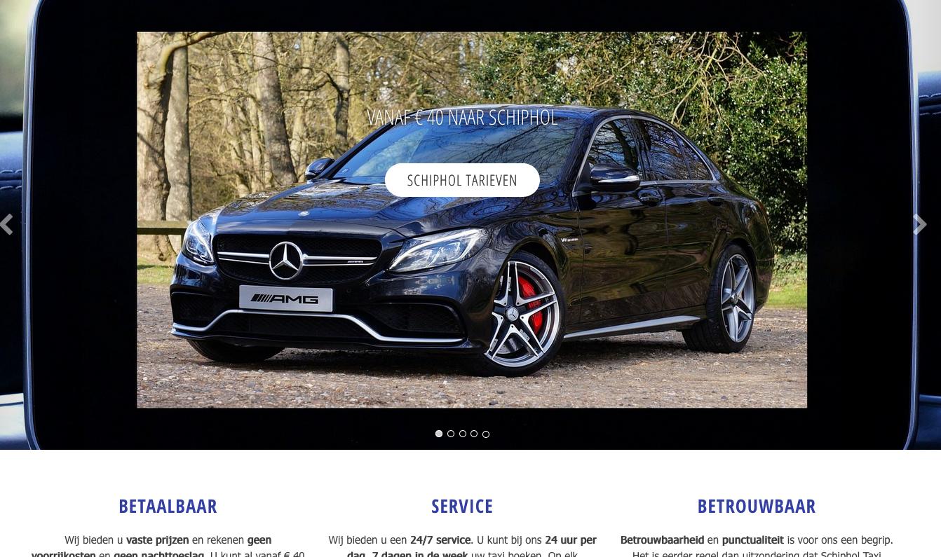 Website Taxivervoer Schiphol