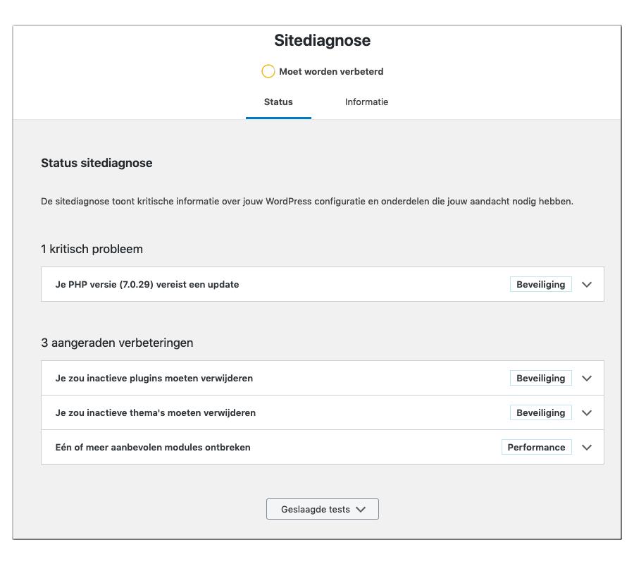 sitediagnose wordpress voorbeeld